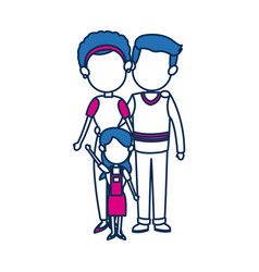 Mom and dad with kid together family image vector