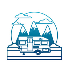 trailer home isolated between mountains landscape vector image vector image