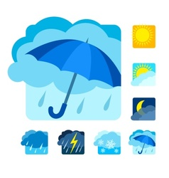 Weather icons set flat vector image