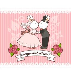 wedding bunnies vector image vector image
