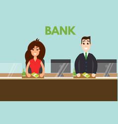 bank teller or cashier behind window vector image