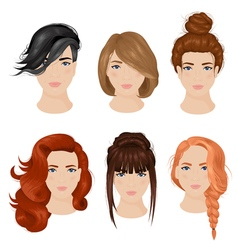 Women Hairstyle Ideas 6 Icons Collection vector image vector image