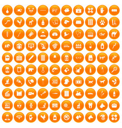 100 veterinary icons set orange vector