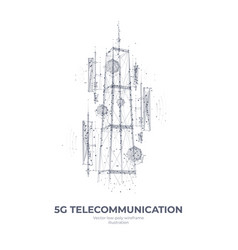 Abstract 3d isolated 5g tower on white vector