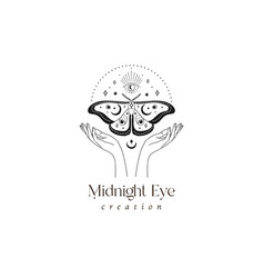 Abstract mystic butterfly moth and eye logo design vector