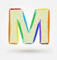 Alphabet letter M Watercolor paint design element vector