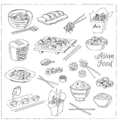 Asian food decorative chinese food icons set vector