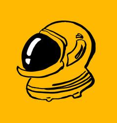 Astronaut helmet doodle cartoon hand-drawn icon vector
