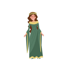 Beautiful queen in green dress fairytale vector