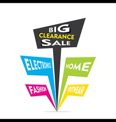 big clearance sale in electronics home fashion vector image