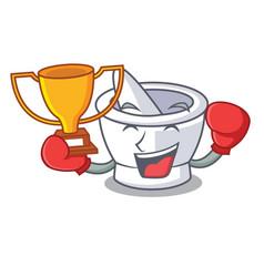 Boxing winner mortar mascot cartoon style vector