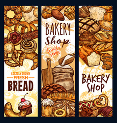 bread sketch banners for bakery shop vector image