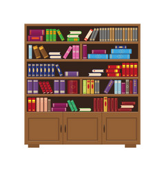 brown wooden big bookcase with colorful books vector image