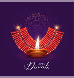 burning diya and cracker for diwali festival vector image