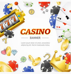 casino concept banner card with realistic 3d vector image