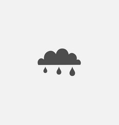 cloud line flat isolated icon with rain vector image