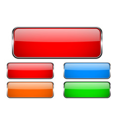 Colored rectangle glass 3d buttons with metal vector