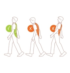 Correct spine posture bad walking position vector image