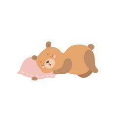 Cute baby bear animal sleeping on pillow vector