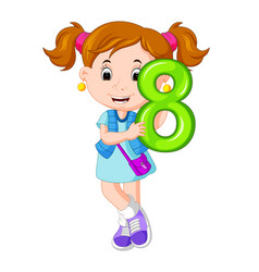 Cute child holding balloon with number eight vector