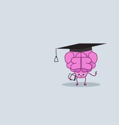 Cute human brain with book pink cartoon character vector