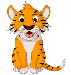Cute tiger cartoon sitting vector