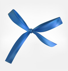 design product blue ribbon and bow 3d realistic vector image