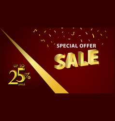Discount up to 25 special offer gold banner vector