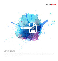 Document icon - watercolor background vector
