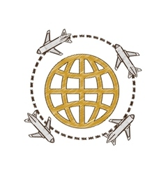 Drawing airplane travel world international vector