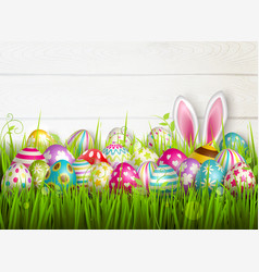 easter eggs grass composition vector image