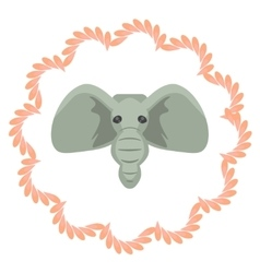 Elephant head cartoon Grey vector