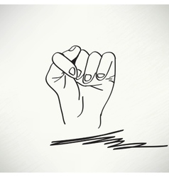 Fig fico hand sign detailed black and white lines vector image
