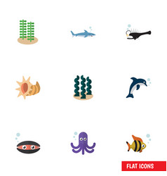 Flat icon marine set of tentacle playful fish vector