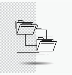 folder file management move copy line icon on vector image