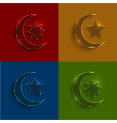 glass ramadan icons set vector image