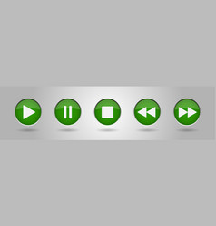 green music control buttons set vector image