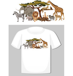 group wild animals design for t-shirt vector image