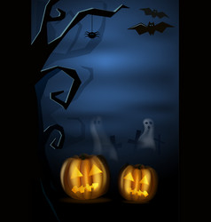 Halloween landscape with pumkins ghost and vector