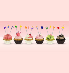 Happy birthday card template with cupcakes vector