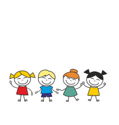 happy kids group playing and having fun vector image