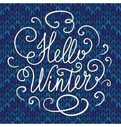 Hello winter hand lettering vector image