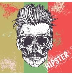 Hipster skull human vector