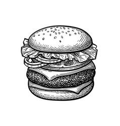 ink sketch hamburger vector image