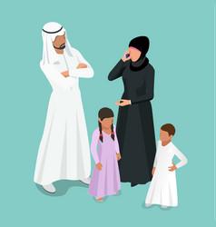 Isometric arabic muslim family traditonal arab vector