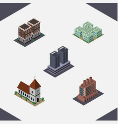 Isometric building set of clinic house tower and vector