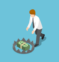 isometric businessman trying to take money from vector image