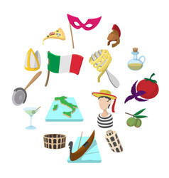 Italy cartoon icons vector