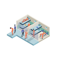 jail interior prisoners sitting in cameras vector image