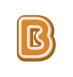 Letter b gingerbread peppermint honey-cake font vector